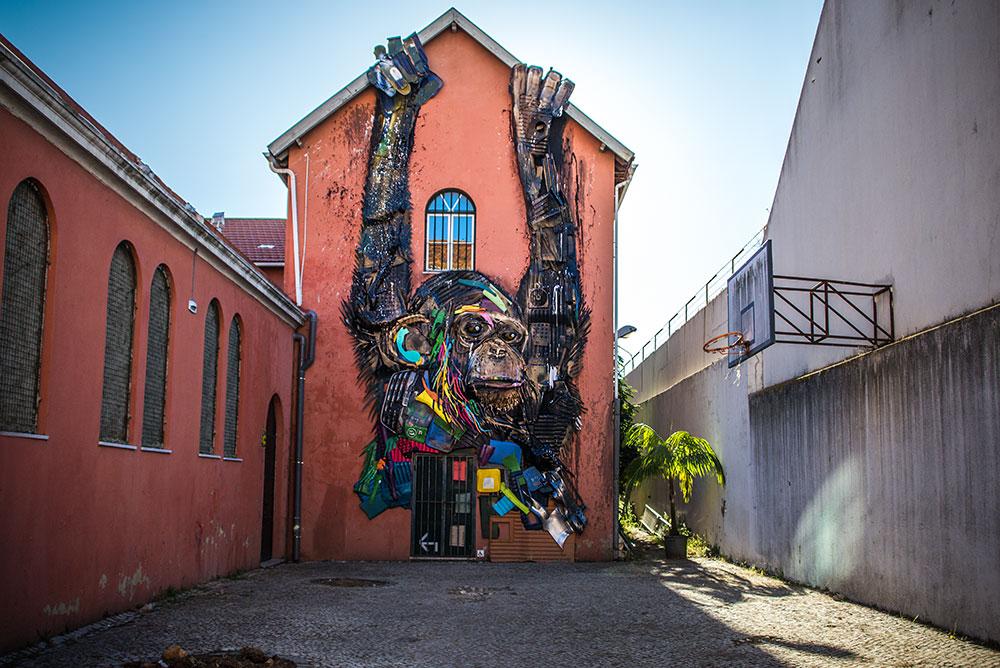 lisbon, portugal, europe, lisbon streets, Lisbon european, europa, lisboa, европа, лиссабон; Lisbon street art; lisbon's Best Street Art; Lisbon's Graffiti; bordalo II; bordalo II in Lisbon; bordalo II monkey; bordalo II street art; bordalo monkey; bordalo street art; bordalo lisbon